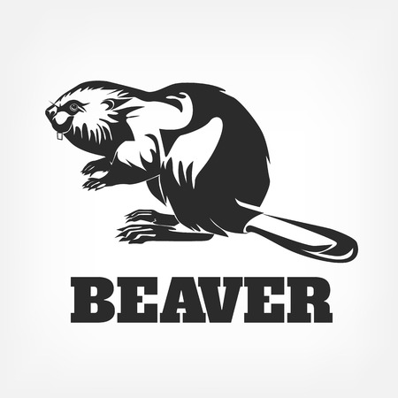 opossum: Beaver. Vector black illustration