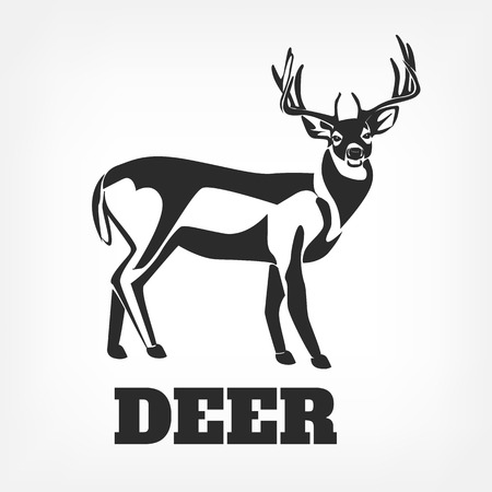 hunter: Vector deer black illustration