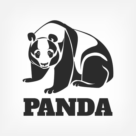 mascots: Vector panda black illustration