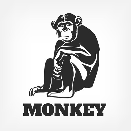 monkey silhouette: Vector monkey black illustration