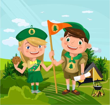 acampar: Campamento de verano con niños y niñas. Vector ilustración de dibujos animados plana Vectores