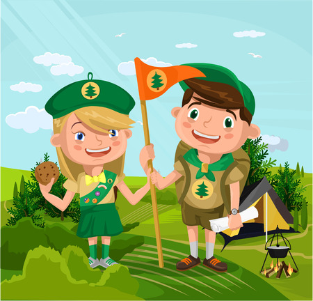 outdoor fire: Summer camp with boy and girl. Vector flat cartoon illustration