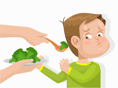 Child does not want to eat broccoli. Vector flat illustration Vettoriali