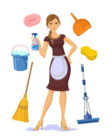 vacuum: Vector housewife flat cartoon illustration