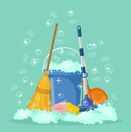 whisk broom: Cleaning vector flat cartoon illustration Illustration