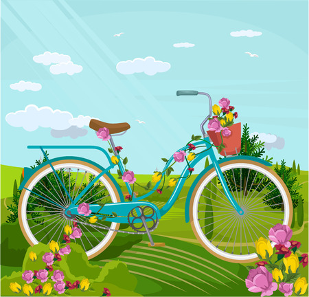 outdoor wedding: Bicycle with flowers in park. Vector flat cartoon illustration