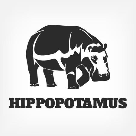 yawn: Vector hippopotamus black illustration Illustration