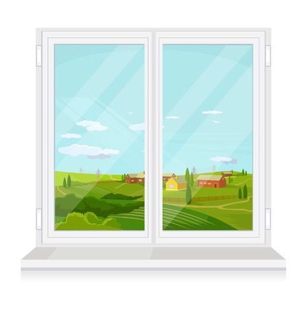 window view: Vector window flat illustration