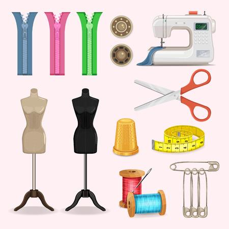 sew: Vector icono de coser conjunto Vectores