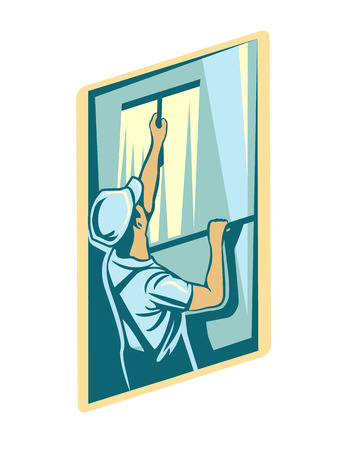 clean off: Vector cleaning window logo illustration Illustration