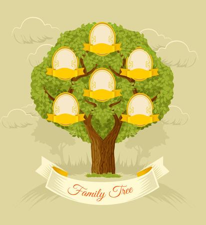 arbol genealógico: Arbol familiar. Vector ilustración plana