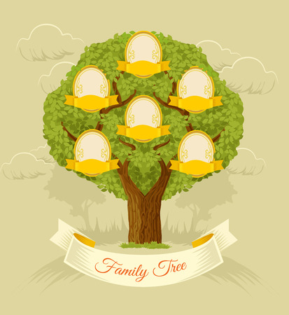 old family: Family tree. Vector flat illustration