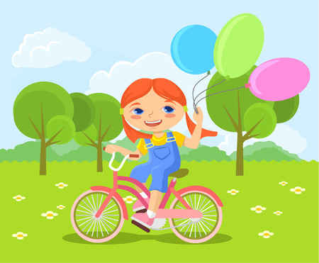 Vector children: Chúc mừng ít cô gái cưỡi xe đạp. Vector hình minh họa phẳng Hình minh hoạ
