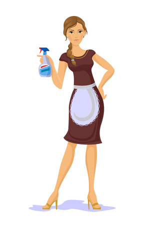 house wife: Vector housewife with spray bottle flat illustration
