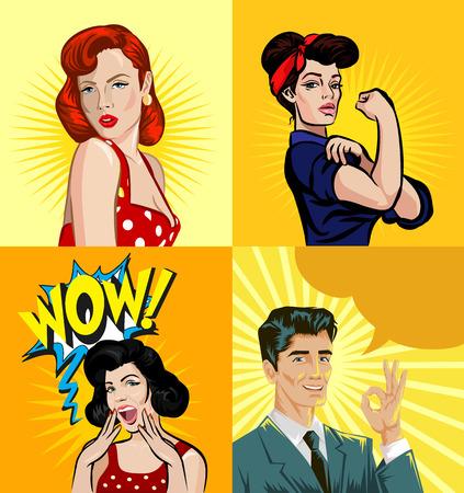 hombre fuerte: Vector personas pin up ilustración conjunto Vectores