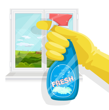 bleach: Spray bottle in hand. Vector flat illustration