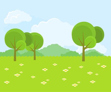 Beautiful green landscape. Vector flat illustration