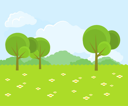dibujo: Hermoso paisaje verde. Vector ilustración plana