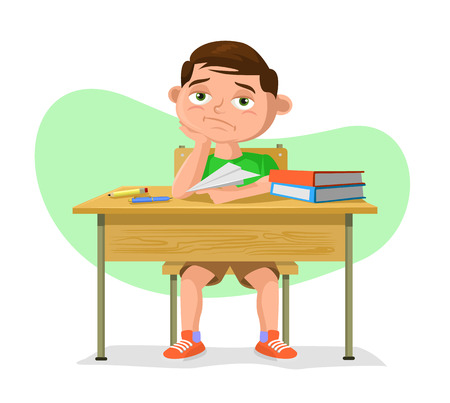 sad: Vector schoolboy flat cartoon illustration