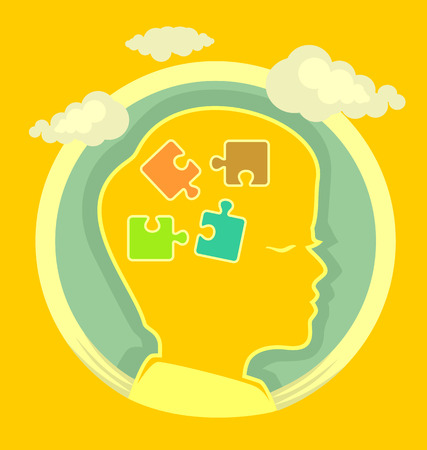Puzzle in head. Vector flat illustration