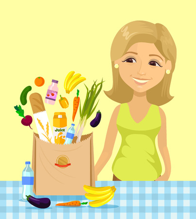 woman eating: Vector flat cartoon illustration of Housewife in kitchen.