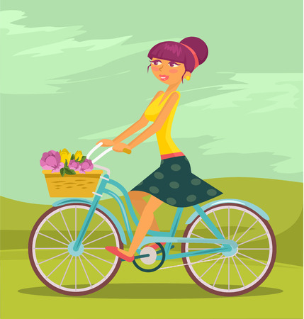 road bike: Vector flat cartoon illustration of girl riding a bicycle Illustration