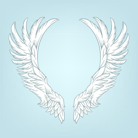 animal angelic: Wings tattoo vector cartoon illustration