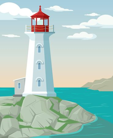 Vector flat cartoon illustration of a lighthouse
