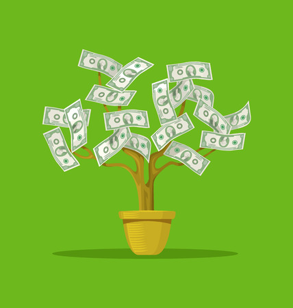 grow money: Vector flat cartoon illustration of money tree