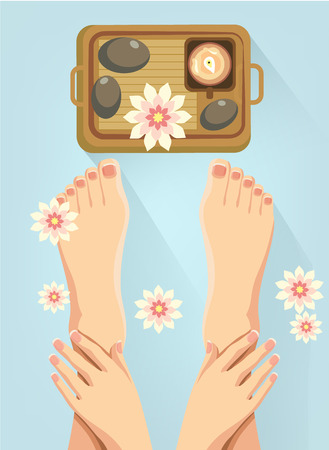 manicure and pedicure: Vector spa feet cartoon flat illustration
