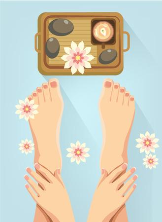flower bath: Vector spa feet cartoon flat illustration