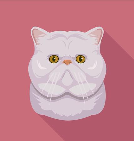 muzzle: Vector flat cartoon illustration of Cat muzzle.  Illustration