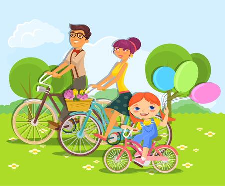 bicycling: Vector cartoon flat illustration of family riding bike