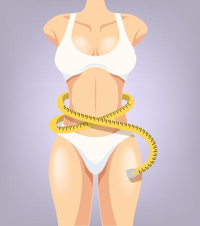costume de bain: Vector cartoon illustration de corps de sport fille