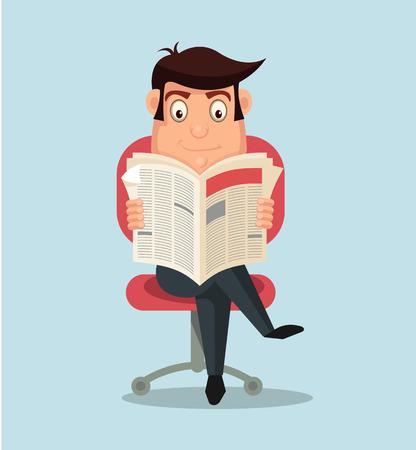 chair cartoon: Businessman reading newspaper. Vector flat cartoon illustration