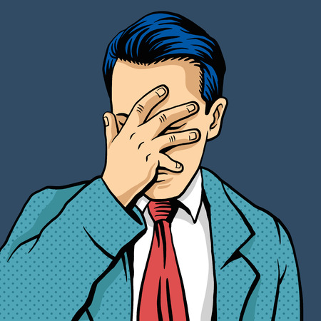 Vector man facepalm comic illustration Çizim