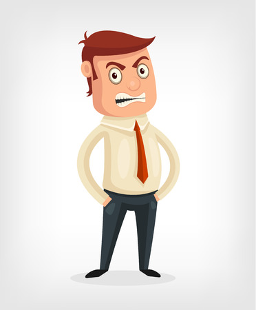 grumble: Vector flat cartoon illustration of an angry man