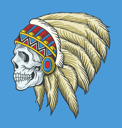 indian chief mascot: Indian skull. Vector tattoo illustration Illustration