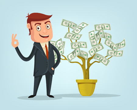 riches: Businessman and money tree