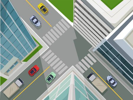 view: Vector flat illustration of street in a city, top view Illustration