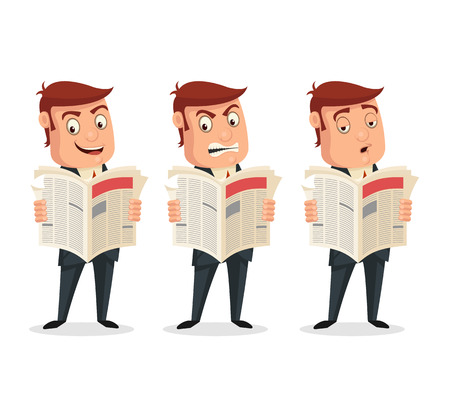 reading news: Businessman reading newspaper with different emotions. Vector flat cartoon illustration