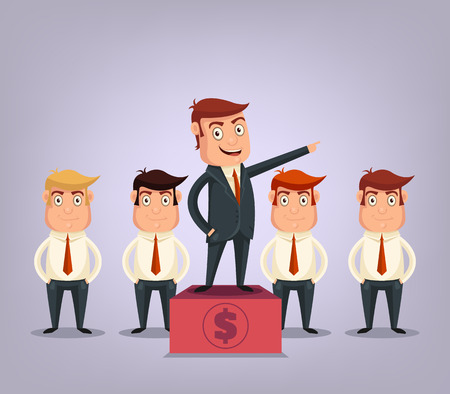 business team: Business team with boss Illustration