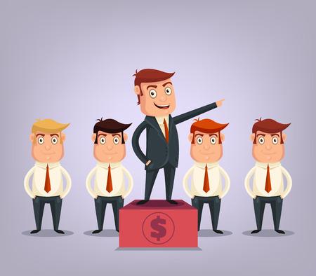 boss: Business team with boss Illustration