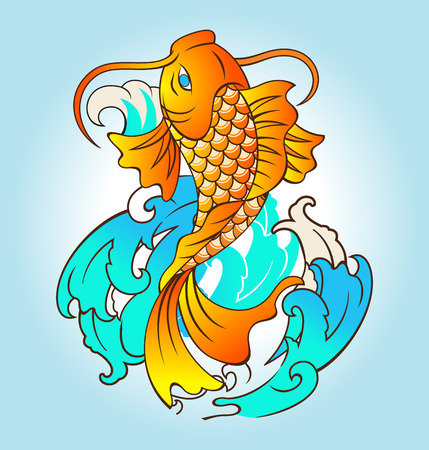 Vector illustration of fish tattoo