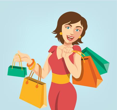 woman vector: Shopping girl. Vector flat cartoon illustration