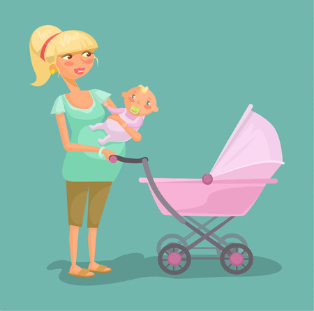 stroll: Woman with child. Vector flat cartoon illustration Illustration