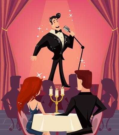 Singer in restaurant. Vector flat cartoon illustration
