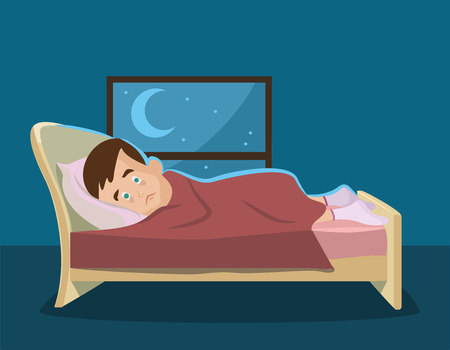 Sleepless man. Vector flat cartoon illustration