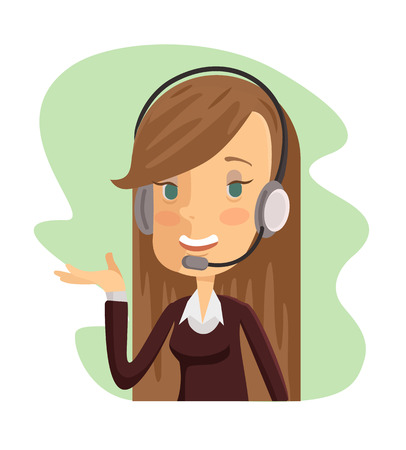 Support manager icon. Vector cartoon flat illustration Иллюстрация