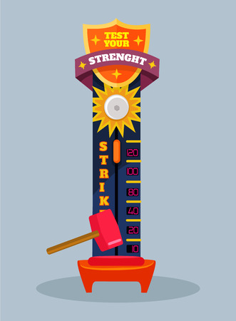 martillo: Pon a prueba tu fuerza. Vector ilustraci�n de dibujos animados plana